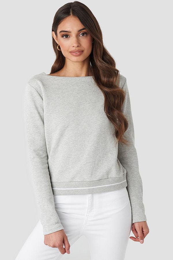 NA-KD Contrast Rib Sweatshirt grå