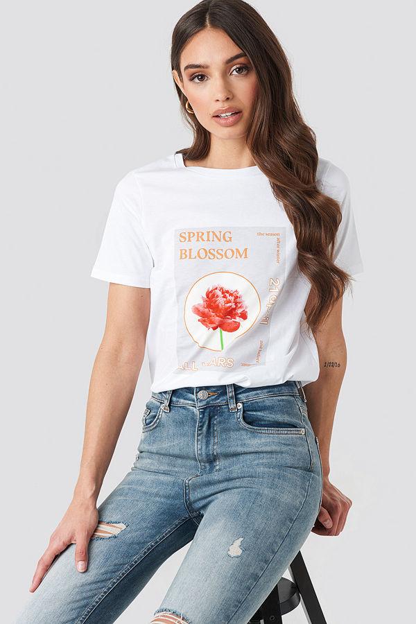 NA-KD Trend Blossom T-shirt vit