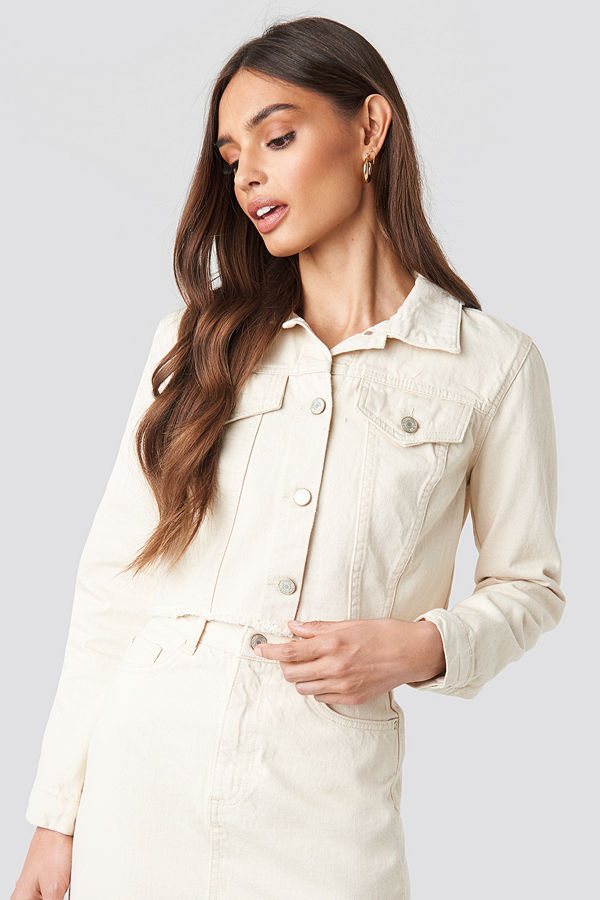 Trendyol Yol Crop Denim Jacket beige