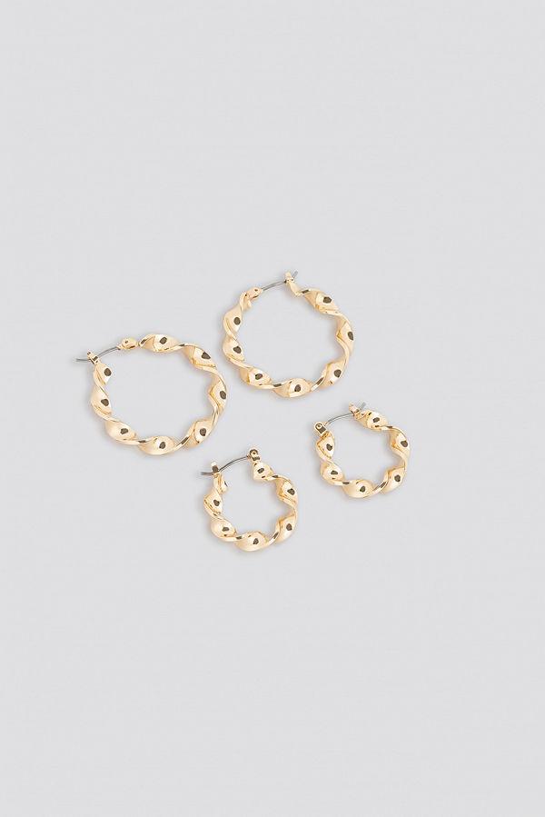 NA-KD Accessories smycke 2-Pack Twisted Hoop Earrings guld