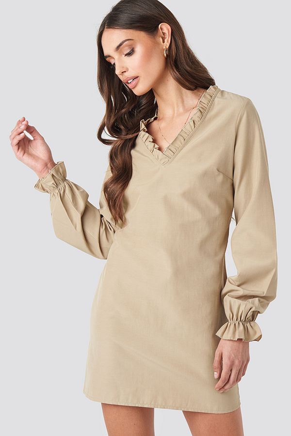 NA-KD Boho Gathered Neckline Oversize Dress beige