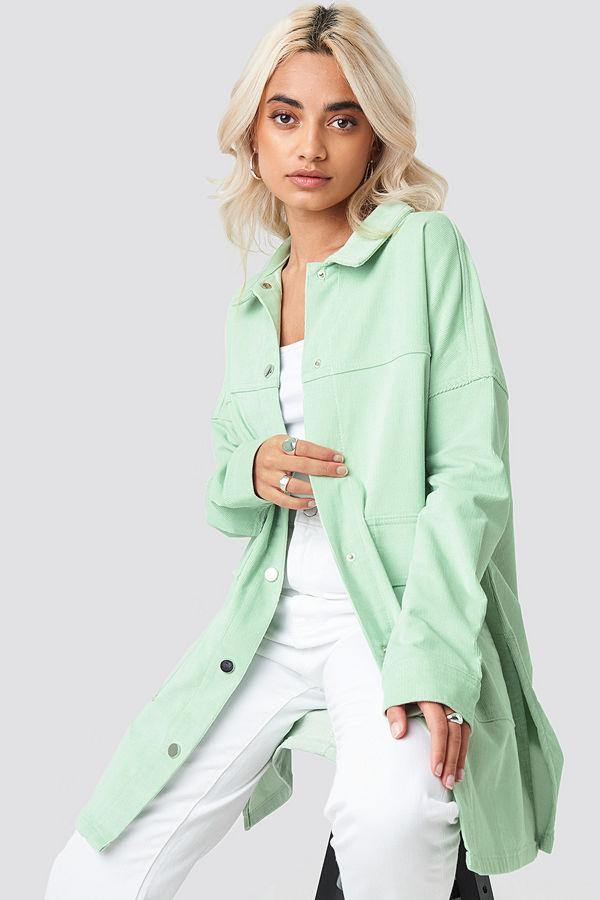 NA-KD Corduroy Overshirt Jacket grön