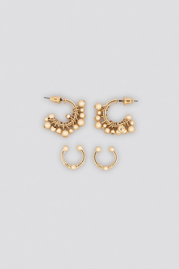 NA-KD Accessories smycke Mini Pearl Hoop And Cuff Set guld