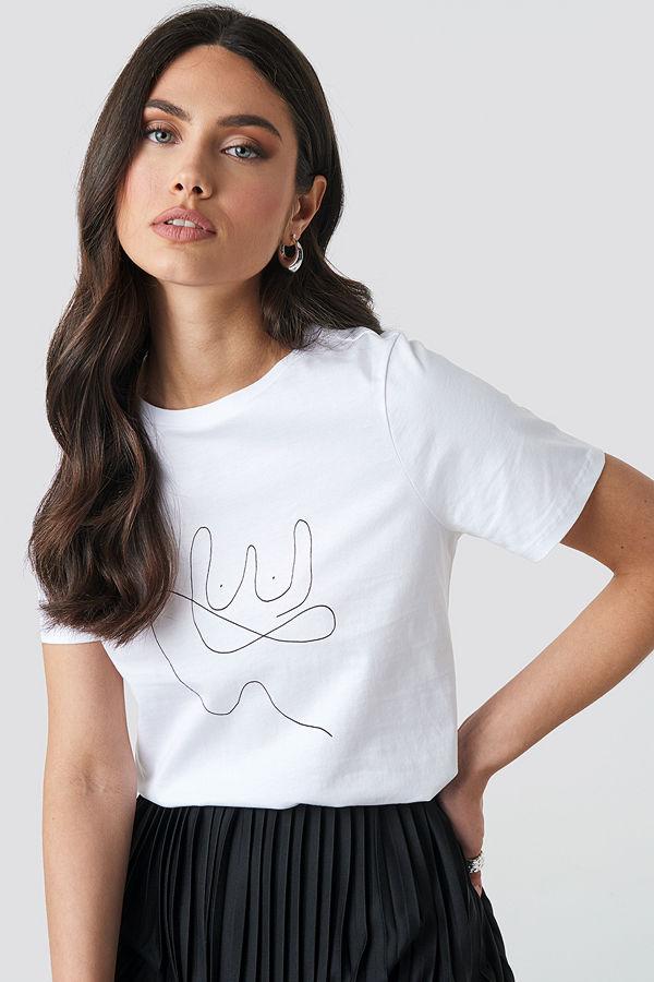 NA-KD Line T-shirt vit
