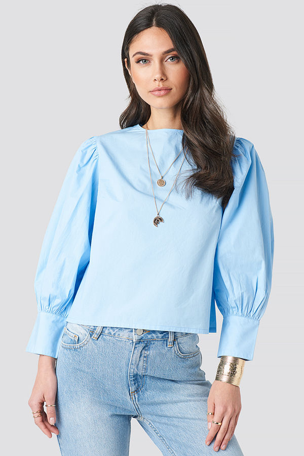 NA-KD Trend Large Cuff Puff Cotton Blouse blå