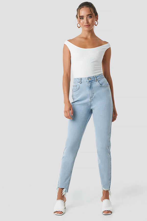 NA-KD High Waist Ripped Ankle Mom Jeans blå
