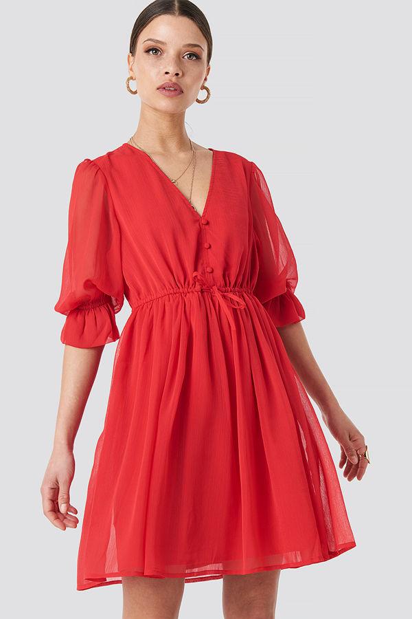 NA-KD Boho Plunge V-Neck Chiffon Dress röd