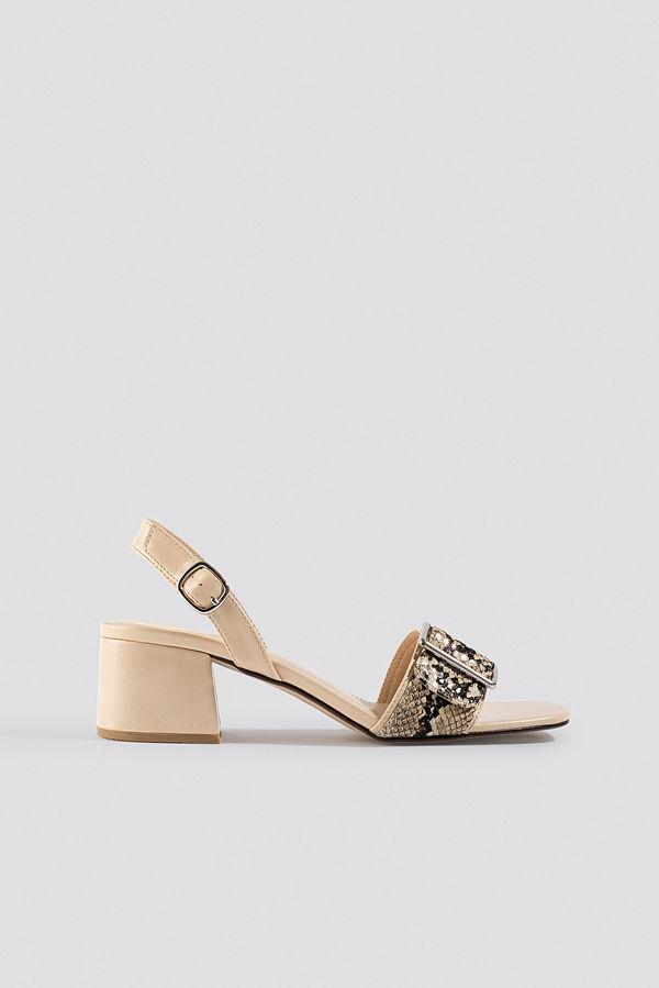 NA-KD Shoes Snake Detail Buckle Sandals beige