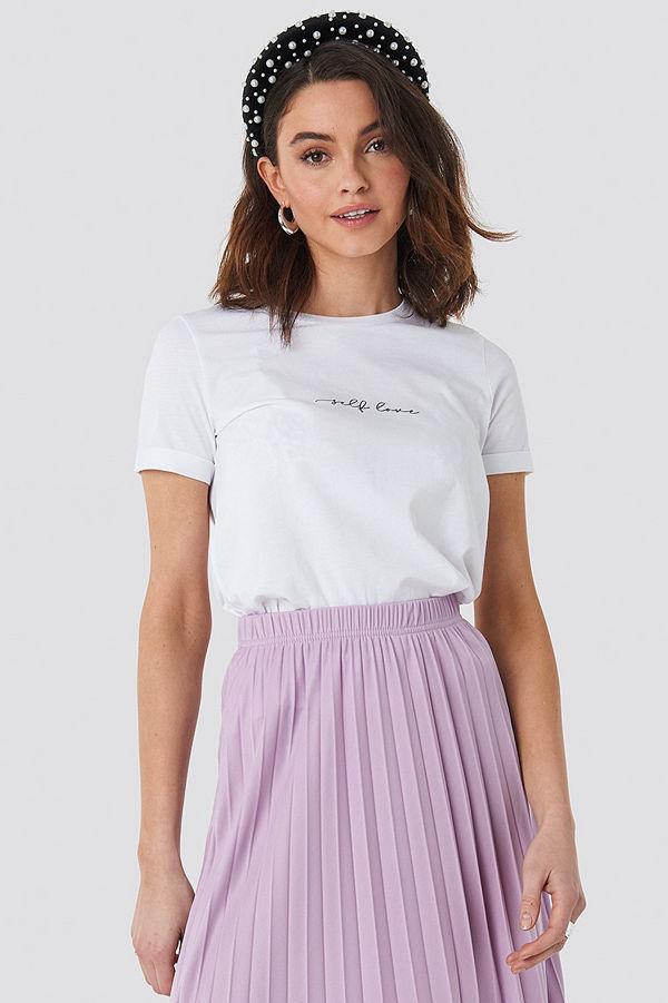 NA-KD Self Love Roll Hem T-shirt vit