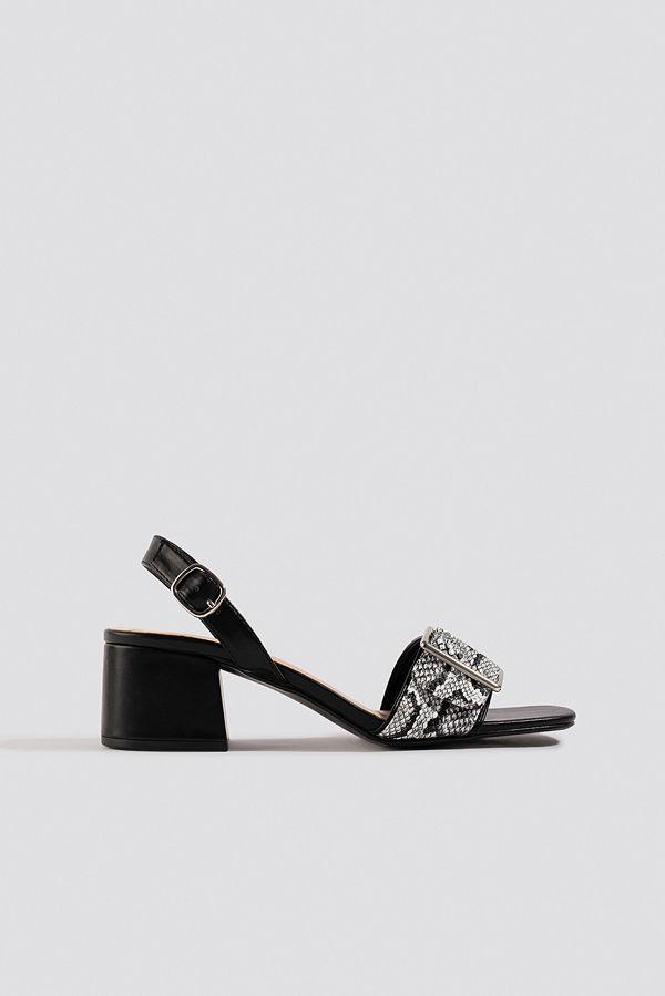 NA-KD Shoes Snake Detail Buckle Sandals svart