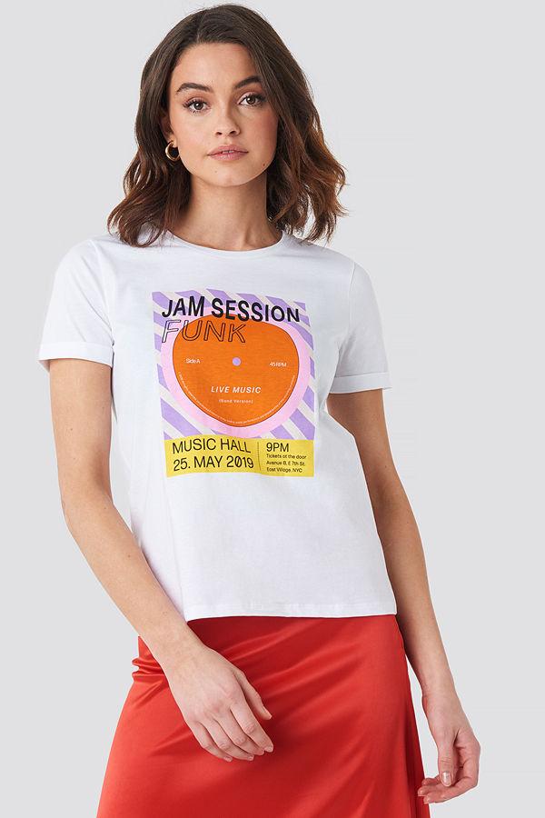 NA-KD Funk Roll Hem T-shirt vit