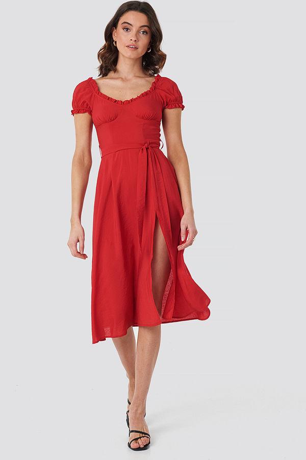 Chloé B x NA-KD Off Shoulder Midi dress röd