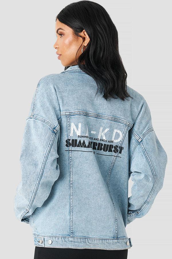 Summerburst x NA-KD Printed Denim Jacket blå