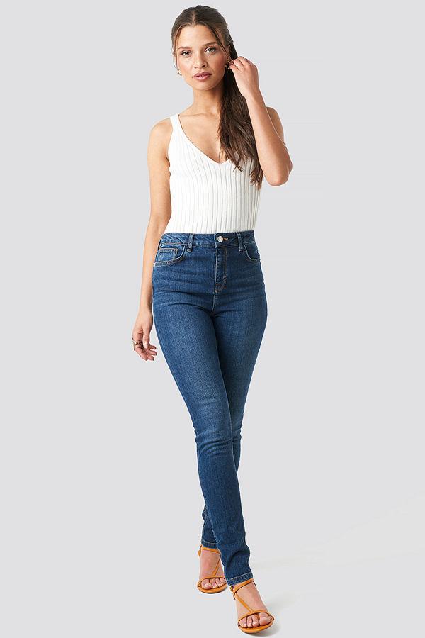 NA-KD High Waist Skinny Jeans blå