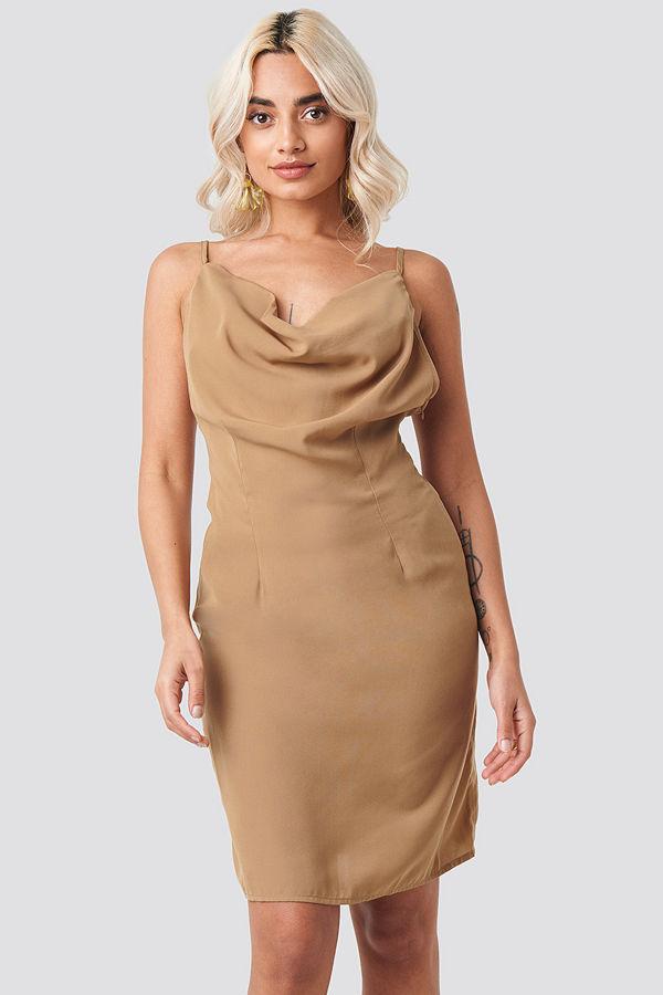 NA-KD Party Cowl Neck Mini Dress beige