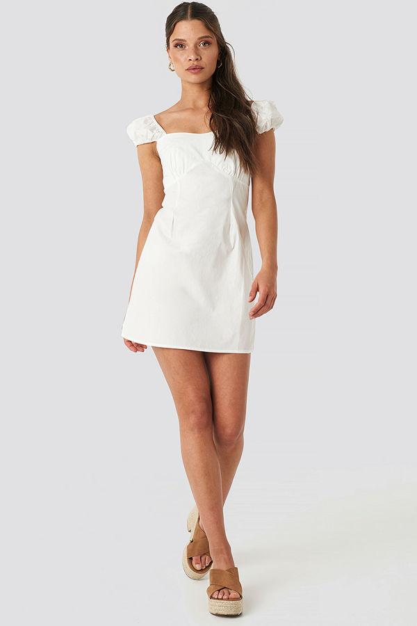 NA-KD Boho Bust Detail Mini Dress vit