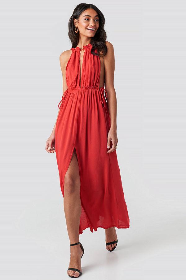 Trendyol Rope Suspender Maxi Dress röd