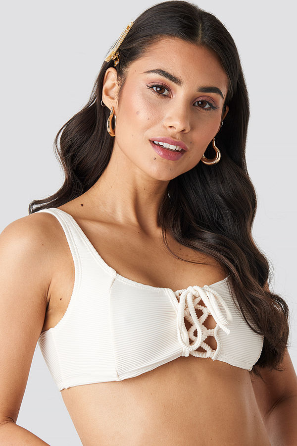 NA-KD Swimwear Ribbed Lace Up Bikini Top vit