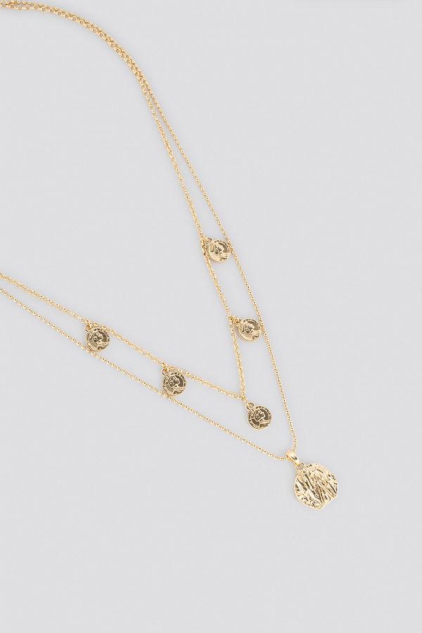 NA-KD Accessories smycke Mini Coin Pendant Double Necklace guld