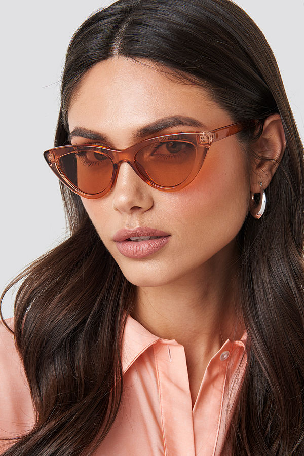 NA-KD Accessories Rounded Cat Eye Sunglasses röd