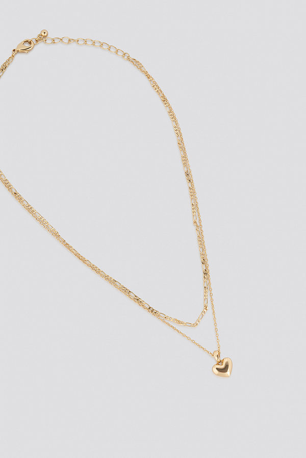 NA-KD Accessories smycke Heart Pendant Double Necklace guld