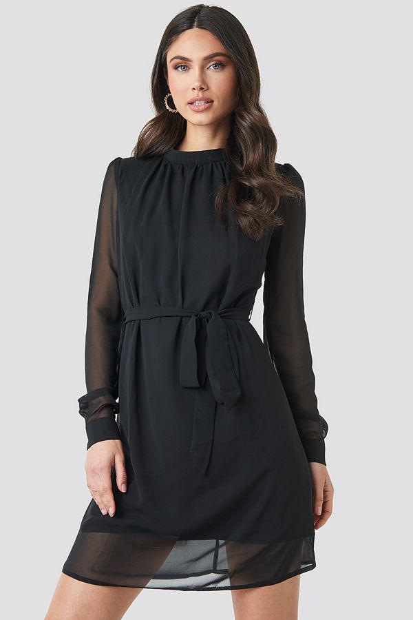 NA-KD High Neck Belted Chiffon Dress svart