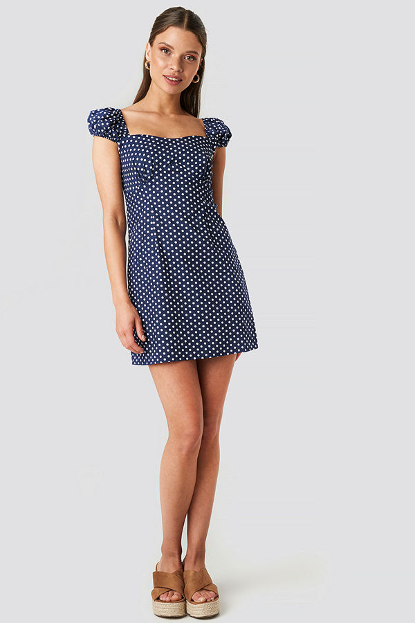 NA-KD Boho Bust Detail Mini Dress blå