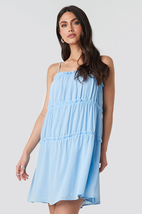 NA-KD Boho Thin Strap Tiered Mini Dress blå