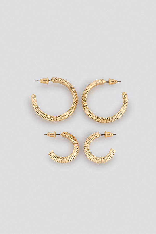 NA-KD Accessories smycke Snake Chain Hoop Earrings (Double Pack) guld