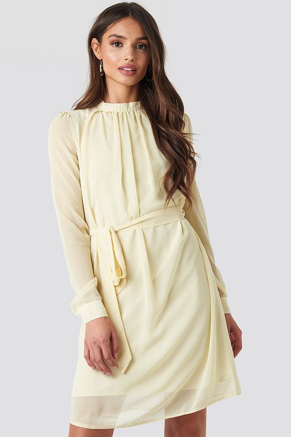 NA-KD High Neck Belted Chiffon Dress beige
