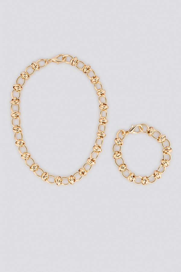 NA-KD Accessories smycke Circular Chain Necklace + Bracelet Set guld