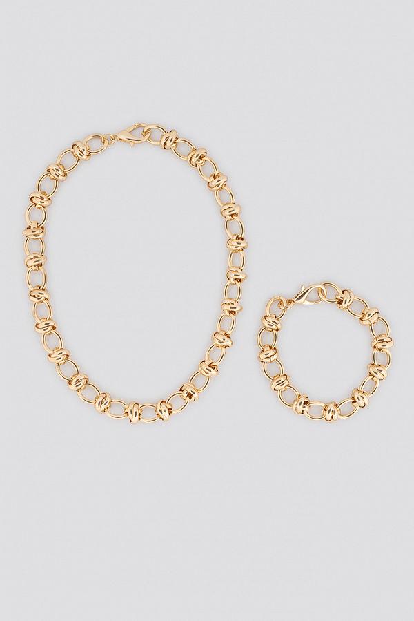 NA-KD Accessories smycke Circular Chain Necklace + Bracelet Set guld