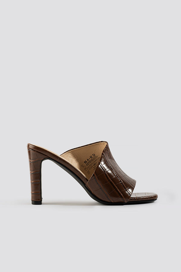 NA-KD Shoes Croco Asymmetric Strap Mules brun