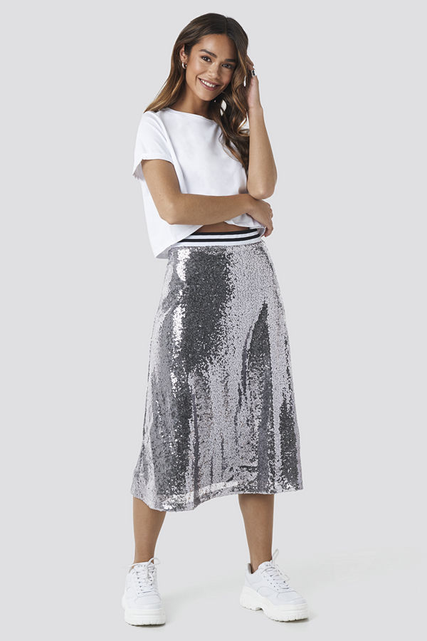 NA-KD Party Sequin Midi Skirt silver