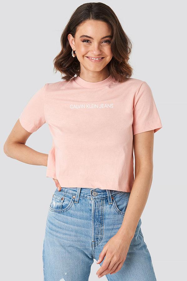 Calvin Klein Shrunken Instit Crop Tee rosa