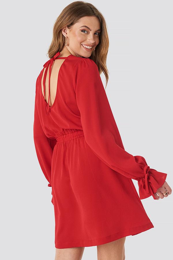 NA-KD Boho Open Back Flounce Detail Dress röd
