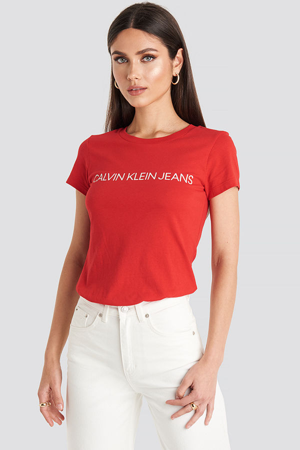 Calvin Klein Institutional Logo Slim Fit Tee röd