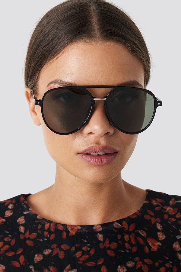 NA-KD Accessories Big Pilot Sunglasses grön