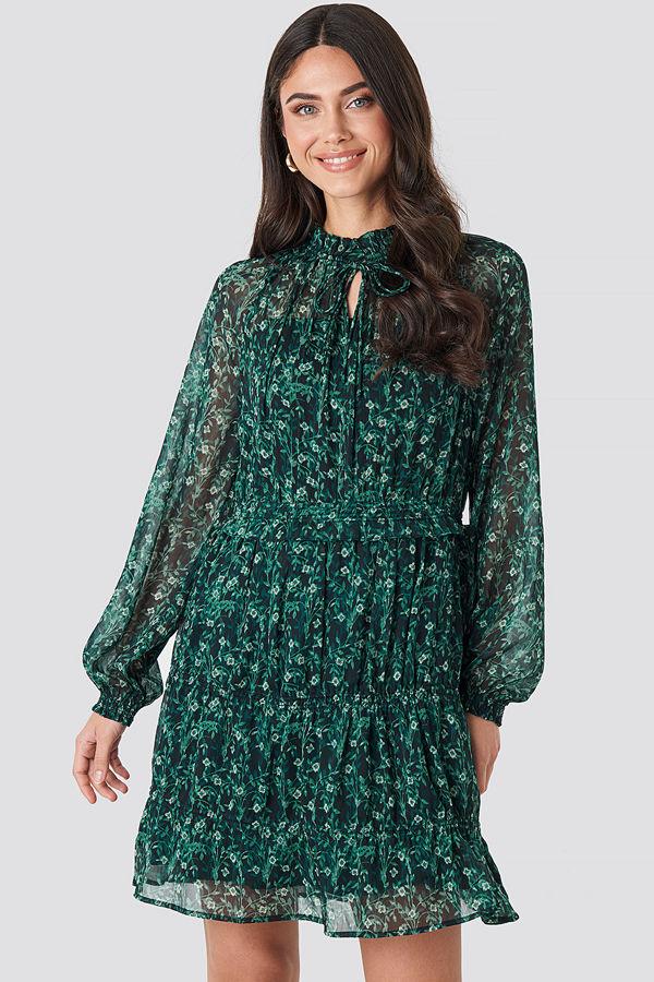 NA-KD Boho Frill V-Neck Chiffon Mini Dress grön