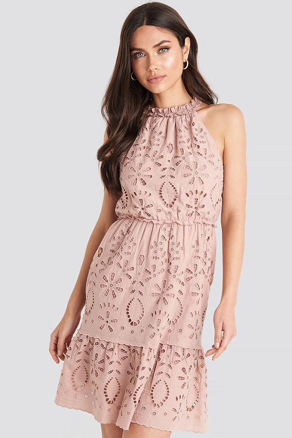 NA-KD Boho High Neck Anglaise Dress rosa