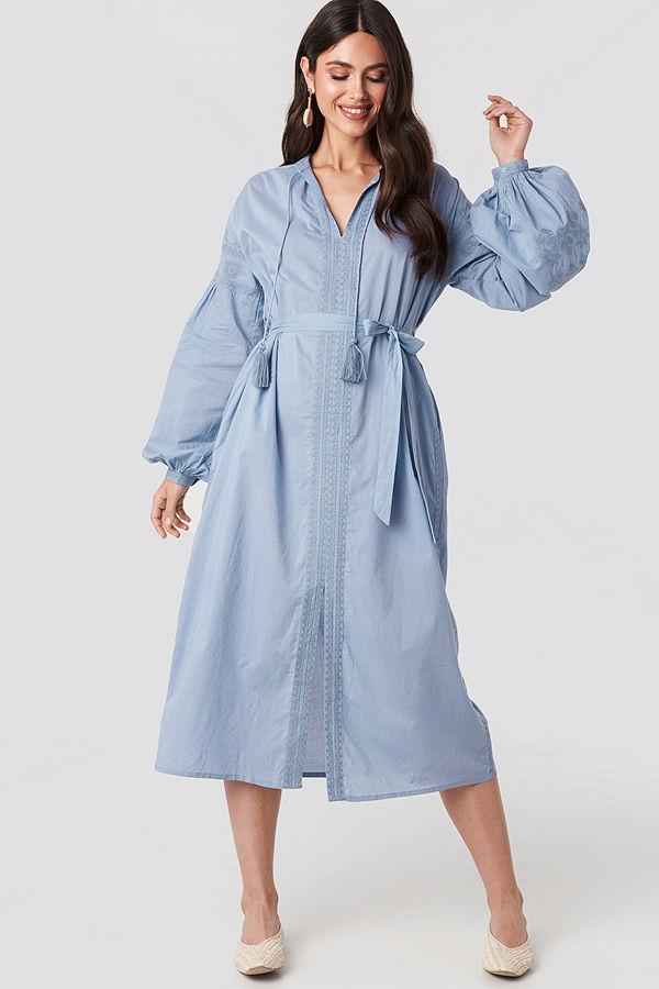 NA-KD Boho Tie Waist Embroidery Maxi Dress blå