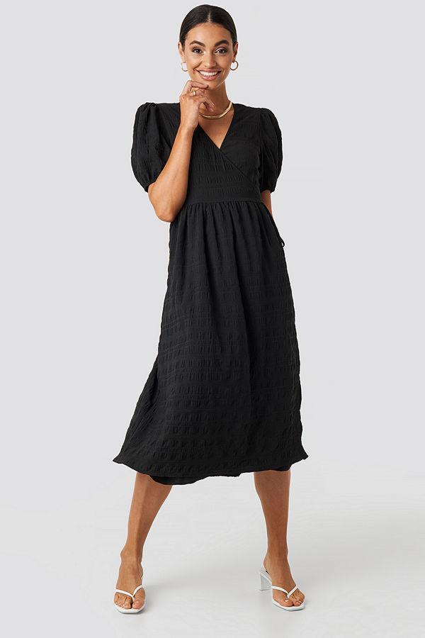 NA-KD Trend Structured Overlap Midi Dress svart