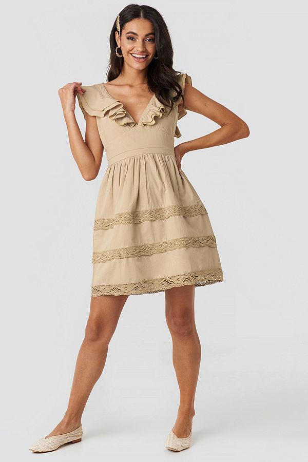 NA-KD Boho Tie Back Layered Flounce Dress beige