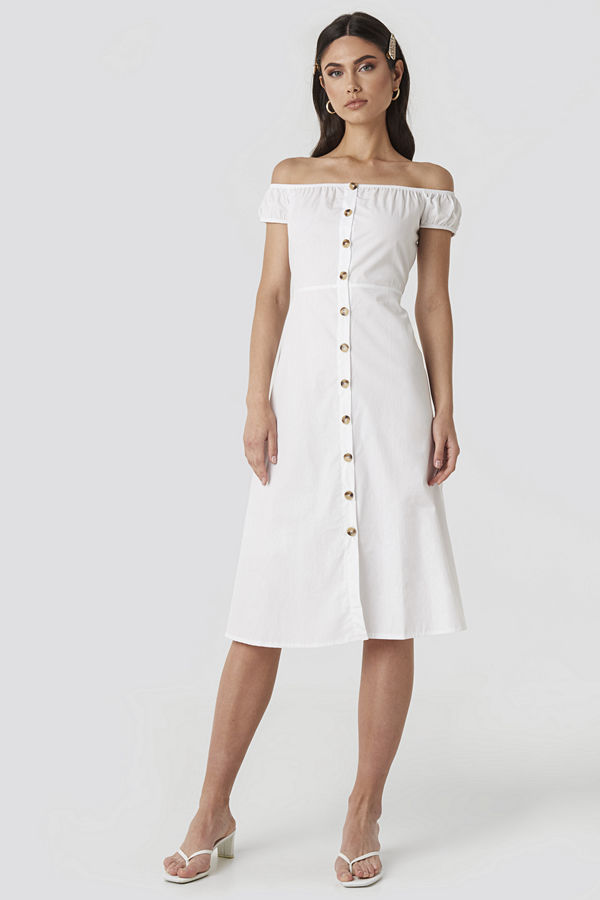 NA-KD Off Shoulder Midi Dress vit