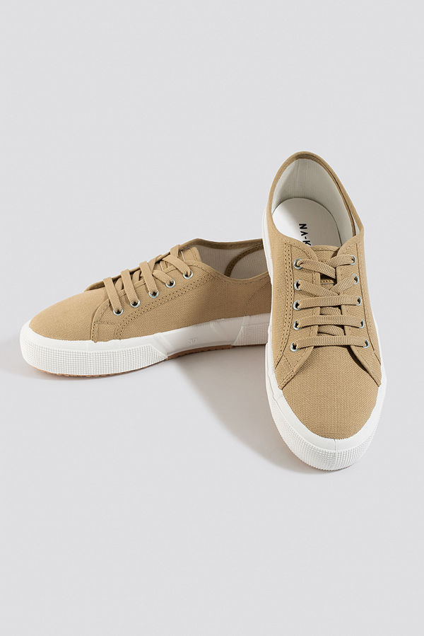 NA-KD Shoes Basic Canvas Sneakers beige