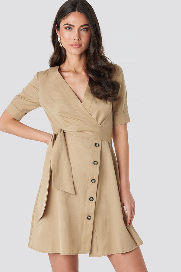 NA-KD Boho Asymmetric Buttoned Mini Dress beige