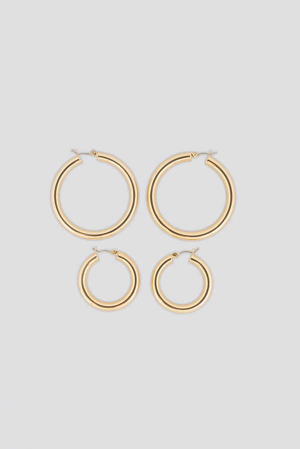 NA-KD Accessories smycke Double Back Basic Hoops guld