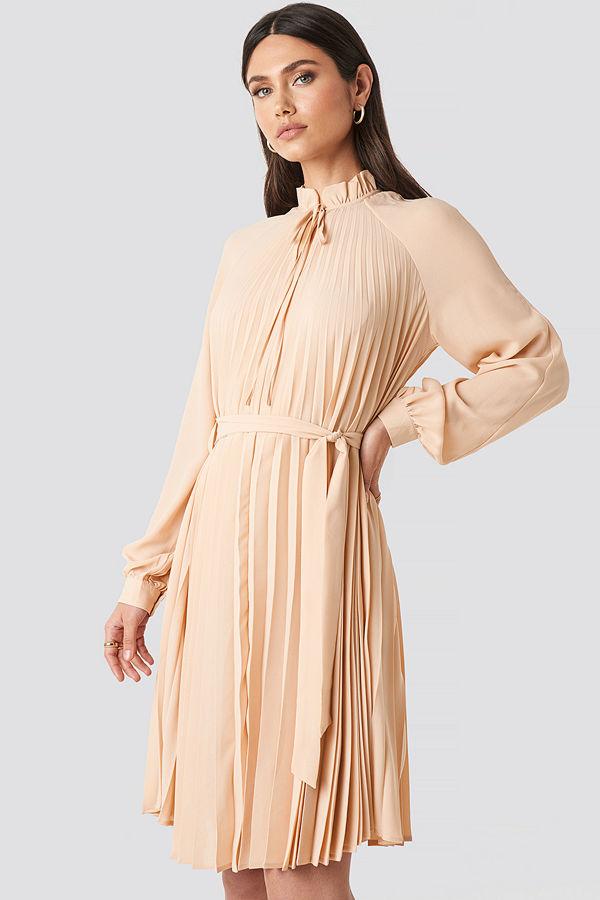 NA-KD Trend Tied Waist Pleated Skirt Dress beige