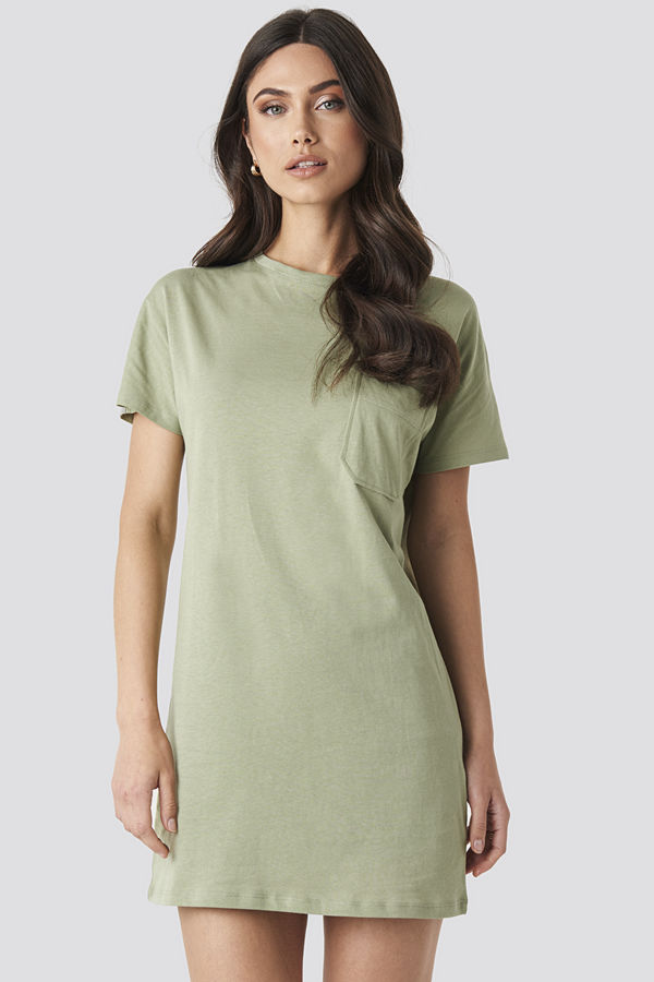 NA-KD Chest Pocket T-shirt Dress grön