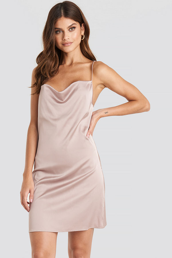 NA-KD Party Satin Waterfall Mini Dress rosa